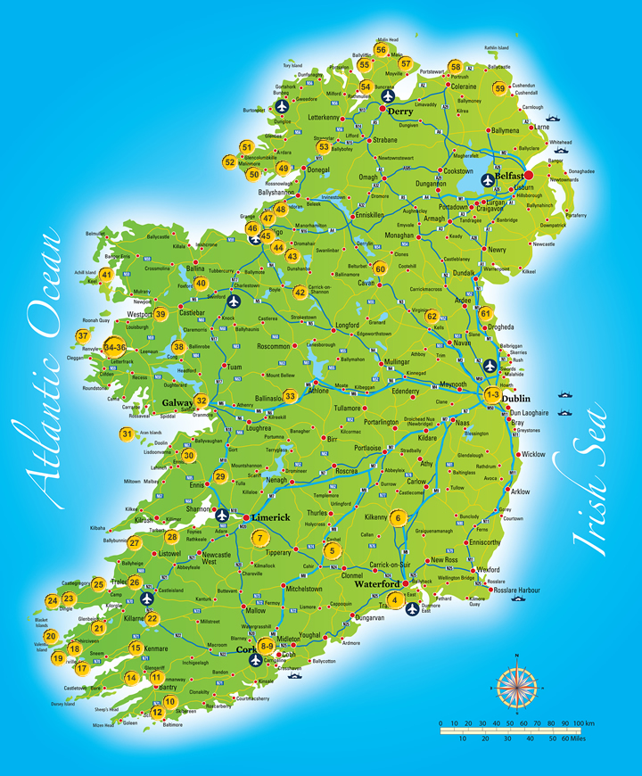 This is a photo of Geeky Printable Road Map of Ireland