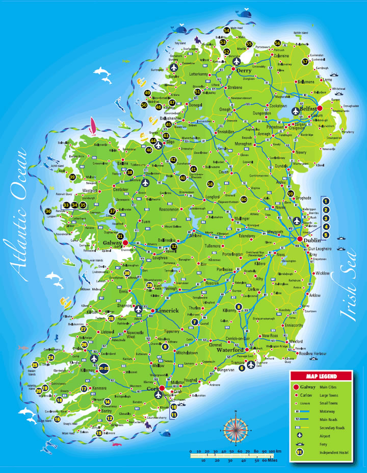 Images Of Map Of Ireland.Ihi Ireland Hostel Locations Around Ireland Independent Hostels